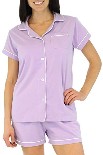 Sleepyheads Women's Sleepwear Stretchy Jersey Short Sleeve Button Up Top and Shorts Pajama Set (SHCS1855-5056-SML) Light Purple