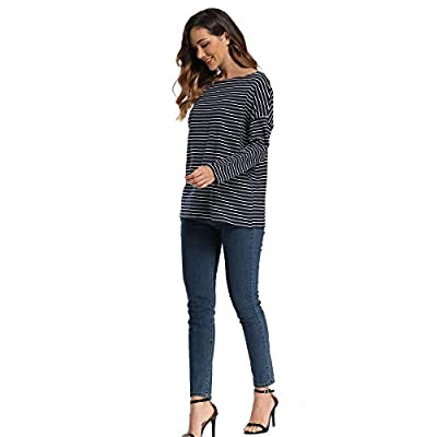 infinilla Women's Oversized Off Shoulder Tops Striped Long Sleeve Shirt Loose Boat Neck Tunic Blouse at  Women's Clothing store