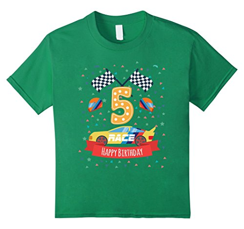 Kids 5th fifth 5 five years old happy birthday race car t shirts 6 Kelly Green