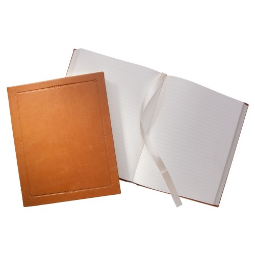 11 Inch Extra Large Hardcover Writing Journal, Genuine Calfskin Leather, Lined Pages, 8-3/4'' x 10-3/4'', British Tan