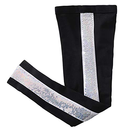 Glitter Flip Sequin Girl's T-Shirt Top Short/Long Sleeve, Fleece Jacket, Leggings 3-14 Years (8, Stripe Black ()