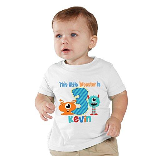 NanyCrafts Children's This Little Monster Birthday Boy Personalized Kids Shirts 18M White ()