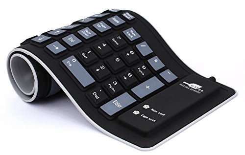 Delicol Foldable Flexible Waterproof Keyboard (Black, USB 2.0, Compatible to Windows 7)