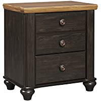 Ashley Maxington 2 Drawer Night Stand in Black and Reddish Brown