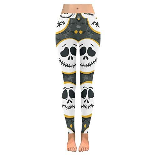 InterestPrint Halloween Scary Face Custom Stretchy Capri Leggings Skinny Pants for Yoga Running Pilates Gym 2XL -