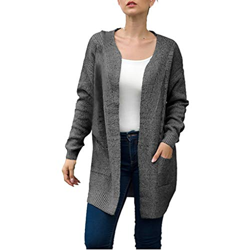 (Dainzuy Women's Long Sleeve Soft Pure Color Chunky Knit Sweater Open Front Cardigan Cover Up Outwear with Pockets Dark Gray)