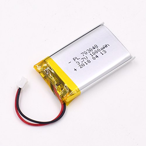 - YDL 3.7V 1000mAh 703048 Lipo Battery Rechargeable Lithium Polymer ion Battery Pack with JST Connector