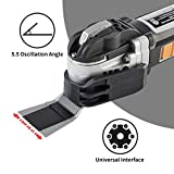 WISETOOL 600W 5 Amp Oscillating Multi Tool Kit with 5.5° Oscillation Angle,6 Variable Speed Oscillating Saw with Integrated Control Foot and Quick Blade Change System for Cutting,Sanding,Grinding