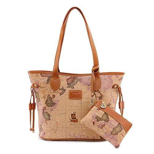 Tote Bags for Women Vintage Map Design Casual Shoulder Bags Ladies Handbags
