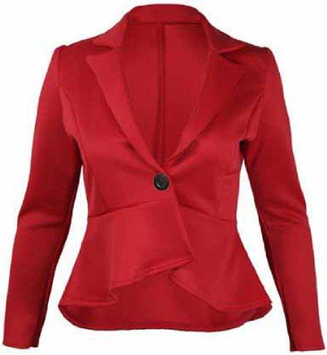 Style Girls Cintrée Crazy Femmes Veste Pour À Blazer Rouge Boutons Péplum 4CwqHpn