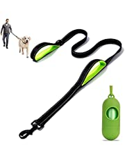 Dog Leash,Dog Poop Bags Dispenser, Heavy Duty Dog Leash 5 ft Long -with Double Traffic Padded Handle Reflective Dog leashes, No Tangle for Walking, Training Lead Small Puppy, Medium and Large Dogs or Cats