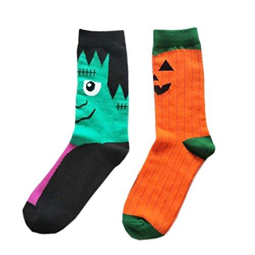 (SherryDC Men's Halloween Pumpkins Bats Novelty Fun Crew Length Casual Dress Socks 2-Pack)