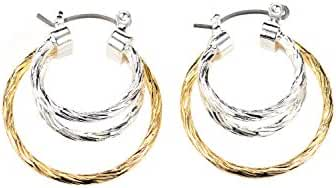 Neoglory Jewelry Gold Silver Color Two Tone Diamond Cut Hoop Earrings Christmas for Sensitive Ears