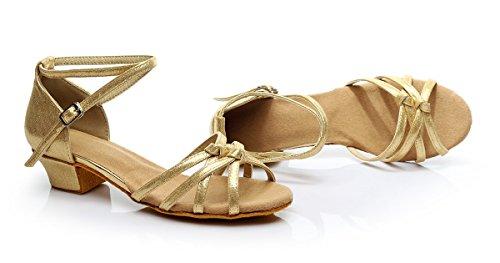 ShangYi Girls Children Latin Dance Shoes Girls Latin Shoes Dance Shoes Children's Dance Shoes Soft, with Height 3.5cm, Gold, EU36/UK3.5 Big Kids