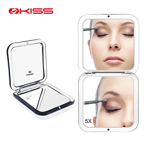 Okiss Compact Mirror Pocket Travel Makeup Mirror for Purses Portable Double Sided Hand Mirror with 1X/5X Magnification (Pocket Mirror Purse)
