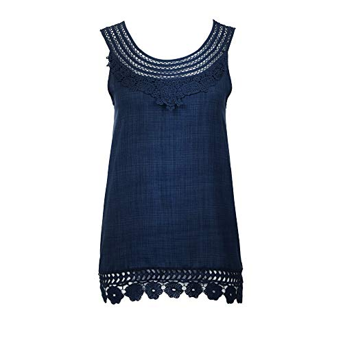 (Women Pure Color Lace Soft Plus Size Cami Loose T Shirt Blouse Top Blue)