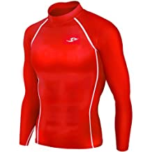 New 051 Skin Tight Compression Base Layer Red Running Shirt Mens S - 2xl