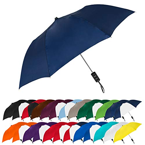 "STROMBERGBRAND UMBRELLAS Spectrum Popular Style 15"" Automatic Open Umbrella Light Weight Travel Folding Umbrella for Men and Women, (Navy Blue)"