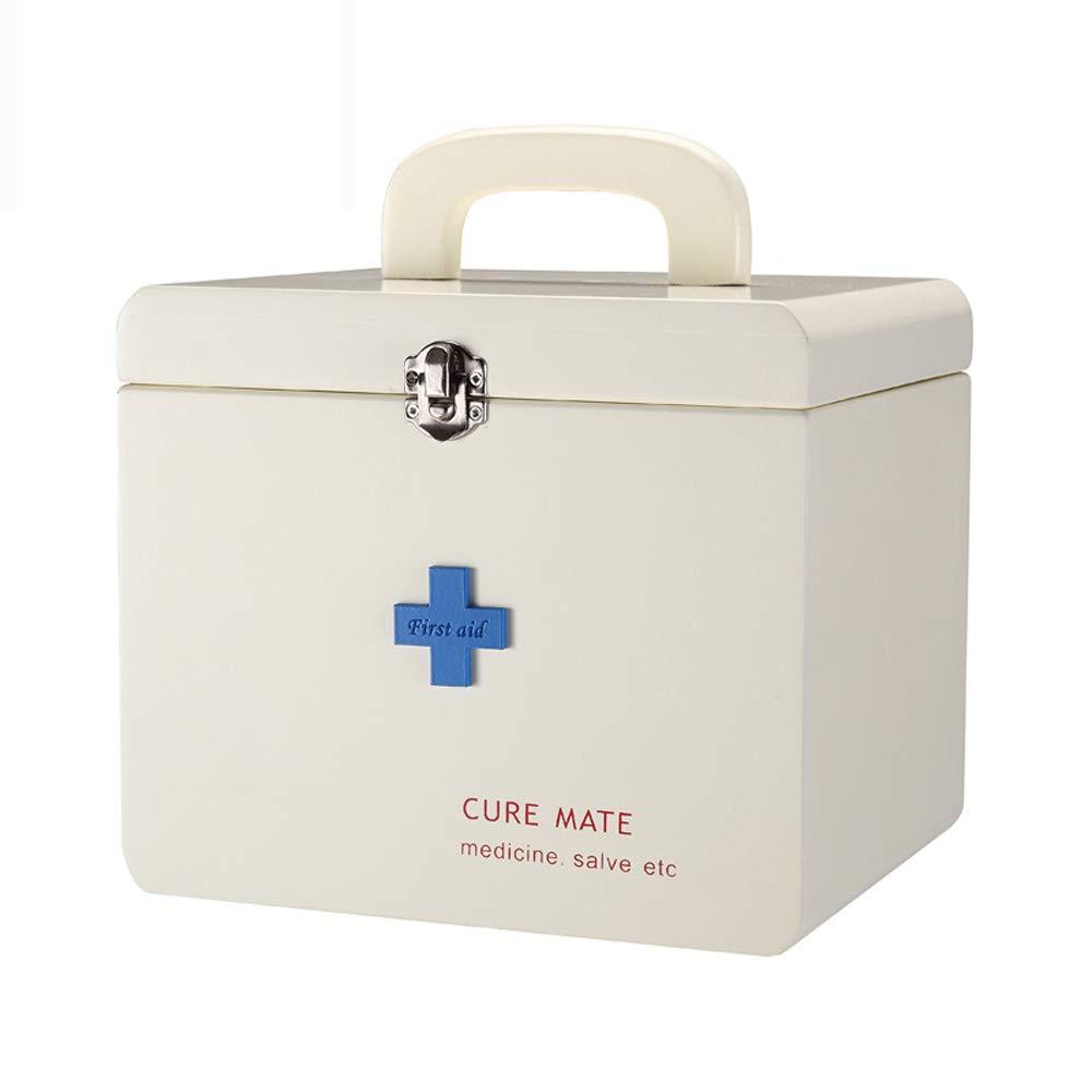 ドラッグ収納ボックス 医療ボックス - MDF材料、シンプルな木製の二重層の層収納ポータブルポータブル耐久性のある環境保護非毒性の安全性、家庭用薬ボックス健康ボックス薬収納ボックス、オフィススクール緊急医療キット医療ボックス - サイズ:22cmX17.5cmX24.5cm   B07MX8196P