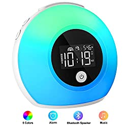 iYeHo Alarm Clock for Kids,Bedrooms,Music Wake Up Light with Bluetooth Speakers,Dimmable Color Changing Night Light,Alarm Clocks for Heavy Sleepers,Music Player for Party,Camping
