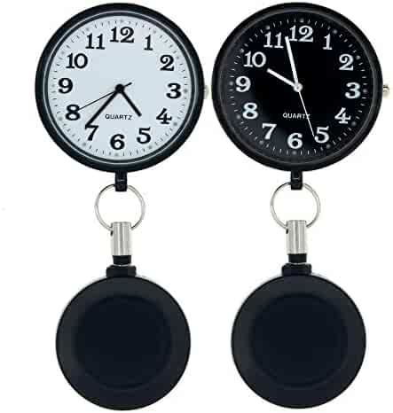 GetLucky Paramedic Retractable Fob Watch for Nurses and Doctors, with Battery Inside,Unique Shining Metal Cover, Infection Design Fob Watch for Women and Men,Retractable Clip on Design