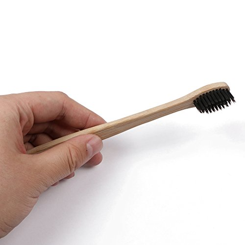 Miracle Black Natural Bamboo Toothbrush with Soft Charcoal Bristles BPA Free 100% Biodegradable Eco-Friendly 4 Pack