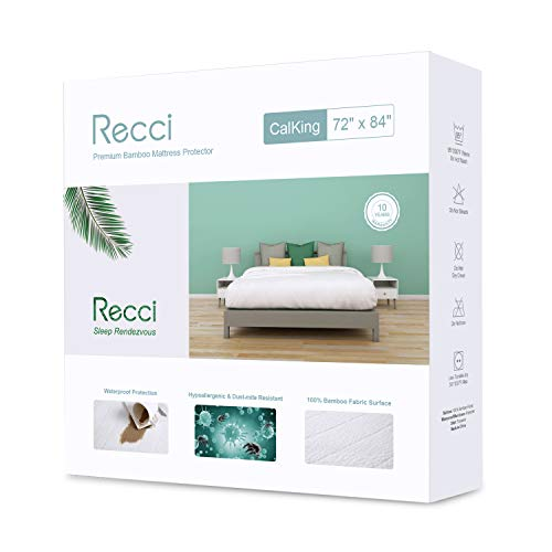 Recci Premium Bamboo Mattress Protector Calking Size - 100% Bamboo Fabric Surface Mattress Cover, Waterproof Bed Cover, Hypoallergenic Cal King Mattress Protector, Vinyl Free?California King Size?