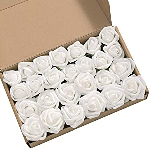 Ling's moment Artificial Flowers 2 inch White Fake Roses and Rose Buds Pack of 24 for DIY Wedding Bouquet Boutonniere Corsage Floral Decor 38