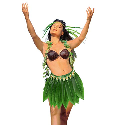 (Ti Leaf Hula Skirt Hawaiian Leaf Skirt Green Grass Skirt with Artificial Hibiscus Flowers for Beach,Luau Party Supplies (Short -Camellia(27in Waist), 27in waist15in)