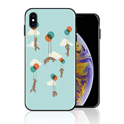Silicone Case for iPhone X, Flight of The Wiener Dogs Design Printed Phone Case Full Body Protection Shockproof Anti-Scratch Drop Protection -