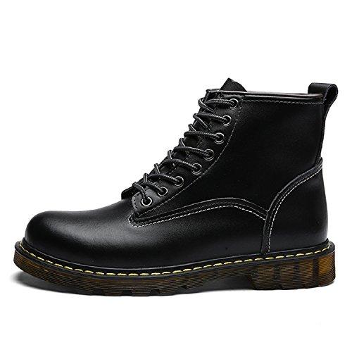 tqgold Unisex Herren Damen Leder Stiefel Warm Gefütterte Kurzschaft Boots Schneestiefel Smooth Stiefeletten für Herbst-Winter B-Schwarz