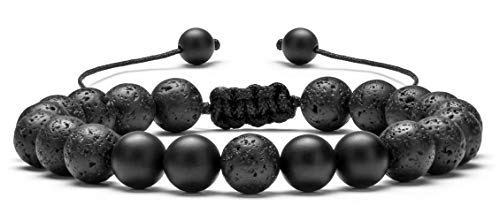 (Hamoery Men Women 8mm Lava Rock Aromatherapy Anxiety Essential Oil Diffuser Bracelet Adjustable Natural Stone Yoga Beads Bracelet Bangle(Matte Black Agate))