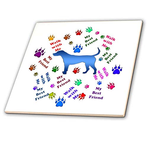 3dRose Sandy Mertens Dog Designs - Walk with Me My Best Friend Dog Words and Paw Prints, 3drsmm - 12 Inch Ceramic Tile ()