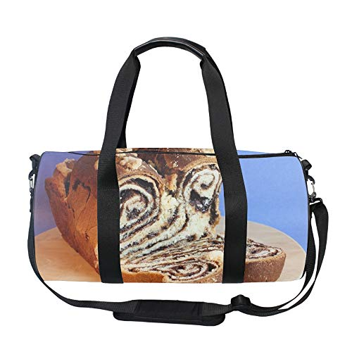 20 Inch Gym Bag with Shoe Compartment Men Duffel Bag, Medium, Bread Roll Stuffing Chocolate Sweet ()
