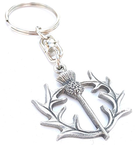 Scottish Jewellery Thistle (Solid Pewter Scotland Thistle Keychain with Gift Pouch)