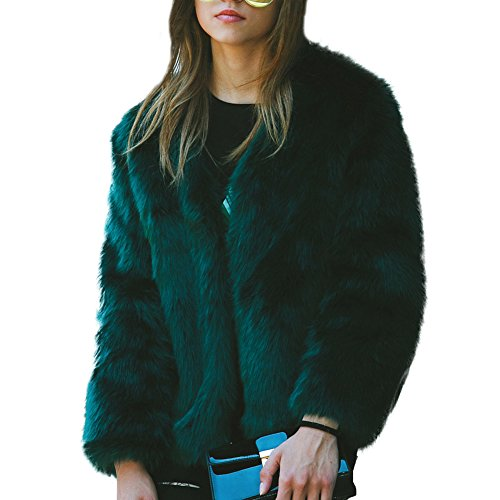 Fur Solid Collarfree Warm Green Faux Women's iBaste Coat Color Outwear Jacket f5qxBXnnU