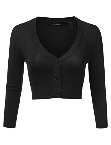 JJ Perfection Women's Solid Woven Button Down 3/4 Sleeve Cropped Cardigan Black L