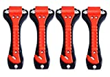 Safety Hammer,Car Window Glass Hammer Breaker and Seat Belt Cutter,Emergency Escape Tool(4-Pack)