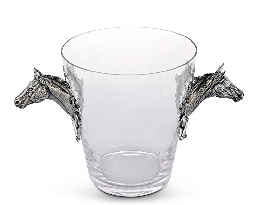 Vagabond House Handblown Glass Ice/Wine Bucket with Pewter Horse Head Handles, 11