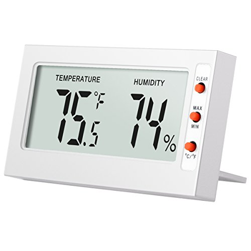 Amir Indoor Digital Thermometer Hygrometer,Mini Temperature and Humidity Monitor - Instant-Read Big LCD Display, °C/°F Switchable with MIN/MAX Records - Perfect for Home, Car, Etc. (White)