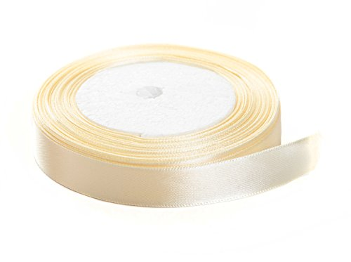 Solid Color Satin Fabric Ribbon (Cream, 3/8
