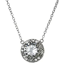 "Rhodium on 925 Sterling Silver Round Clear Cz Crystal Pendant Link Ring Cable Chain Charm Necklace 16"" Adjustable with 1"" Extender"