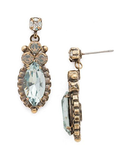 Sorrelli Coastal Mist Noble Navette Blue Crystal Goldtone Dangle Post (Sorrelli Designer Earrings)