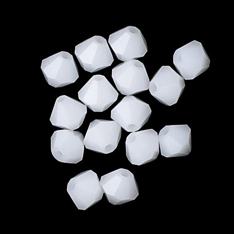 100 pcs 4mm Swarovski 5301 Crystal Bicone Beads, White Alabaster, - Alabaster Crystal