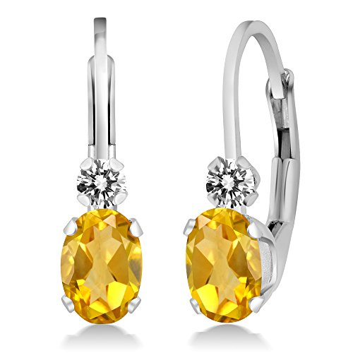 0.87 Ct Oval Yellow Citrine White Diamond 925 Sterling Silver Earrings by Gem Stone King
