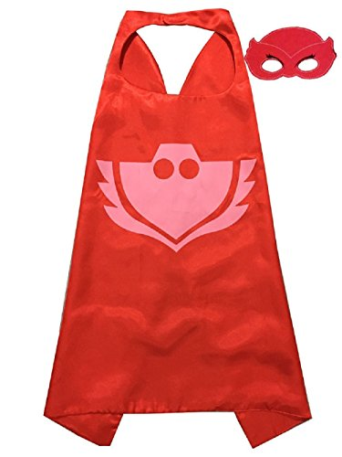 Superhero Halloween Party Cape and Mask Set for Kids 15+ Styles! (Owlette) (Superman Adult Onesie)