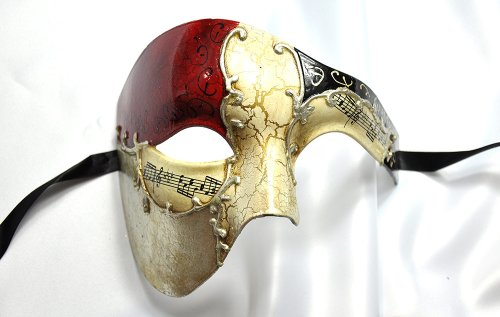 Phantom of the Opera Men's Venetian Mask Masquerade Party, Red