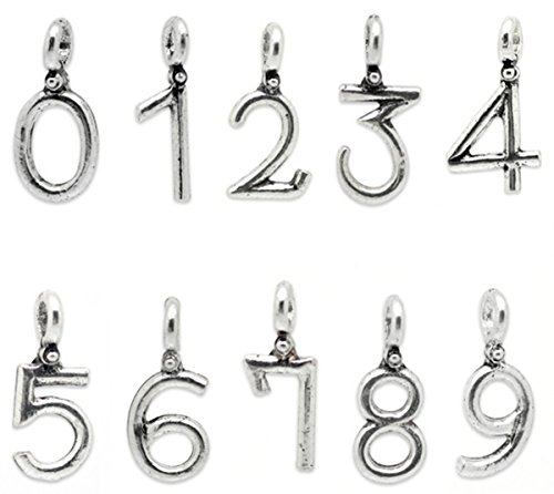 Housweety Silver Number Pendants 19x8mm 20x10mm