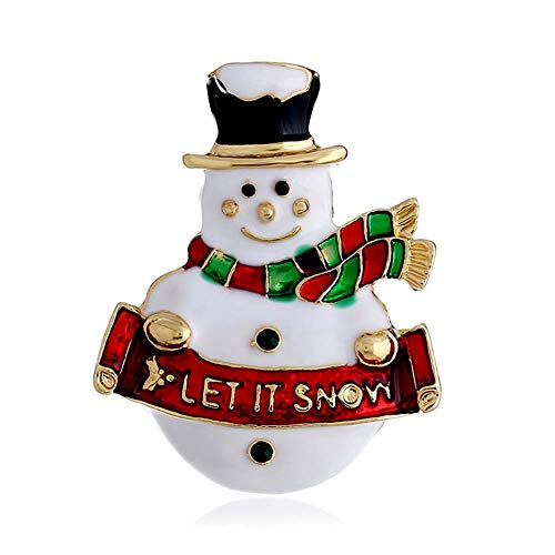 - YOUYUZU Snowman Christmas Brooch Pin Xmas Rhinestone Crystal Let It Snow Brooches for Women