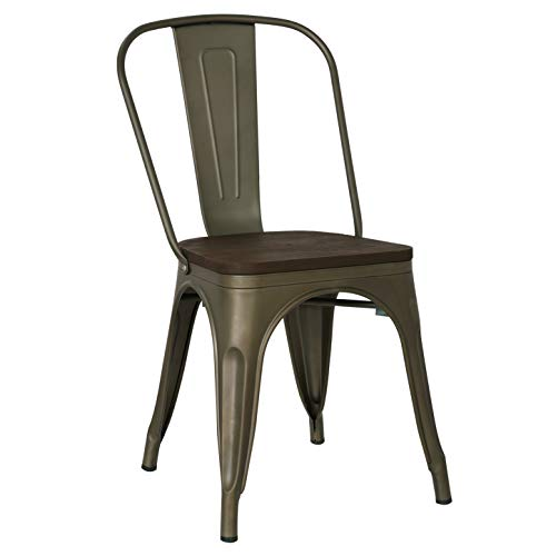 Poly and Bark Trattoria Side Chair with Elm Wood Seat in Bronze